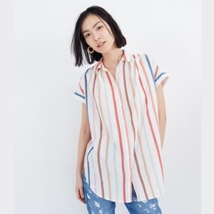 Madewell Central Rainbow Stripe Tunic Shirt 🌈